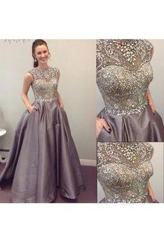 facdeac456b 2018 Scoop Beaded Bodice Taffeta A Line Sweep Train Prom Dresses Prom  Dresses Online