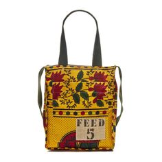 FEED 5 Africa Bag Yellow Green . When you buy a bag you feed 20 , a blanket 24 and a bike 240 people. They have pretty cute stuff and its sold at target. @Tawny Wohlers ormes