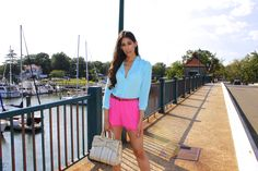 Dressed-up-casual with Blue Top and Pink Shorts - The Style Contour