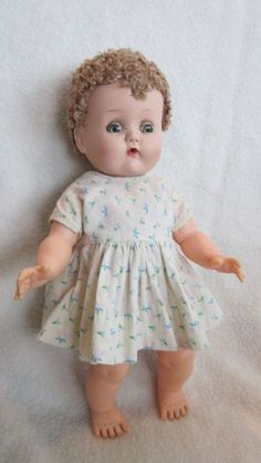"""13"""" Ideal Betsy Wetsy Doll 1950's Caracul Wig, drinks-wets-tear & nose holes #DollswithClothingAccessories"""