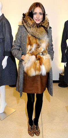 Look of the Day › February 19, 2011 WHAT SHE WORE Palermo bundled up in fur, leather and a plaid overcoat paired with leopard print booties at the Rachel Roy Fall 2011 presentation.