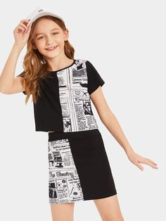To find out about the Girls Newspaper Print Top & Skirt Set at SHEIN, part of our latest Girls Two-piece Outfits ready to shop online today! Girls Summer Outfits, Cute Girl Outfits, Cute Casual Outfits, Cute Outfits For Kids, Junior Outfits, Girls Dresses, Girls Fashion Clothes, Teen Fashion Outfits, Kids Clothing
