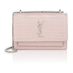 Saint Laurent Women's Monogram Sunset Chain Wallet ($1,550) ❤ liked on Polyvore featuring bags, wallets, pink, pink leather wallet, strap wallet, pink wallet, genuine leather wallet and monogrammed leather wallet