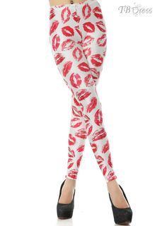 Stunning Red Lip Prints Print All-matched European Style Skinny Leggings