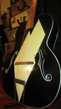 Vintage Airline Art Deco Archtop  Acoustic Black & White  Guitar