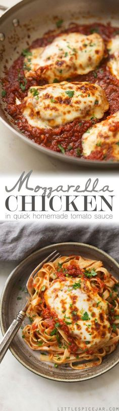 30 Minute Mozzarella Chicken in Tomato Sauce ! A delicious , quick and easy weeknight recipe for chicken smothered in tomato sauce with melty mozzarella! Serve with bread or pasta
