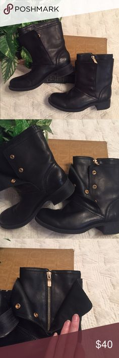 Bcbgeneration boots These are like new leather moto ankle boots.  They have an outer layer with three usable gold snaps up both sides and an inner layer with a gold zipper on the inside. BCBGeneration Shoes Combat & Moto Boots