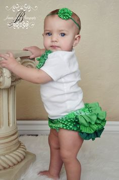 Ruffle Diaper Cover Bloomer Panty Pants St Patricks Day TO MAKE FOR UPCOMING BABIES GIRLS!!