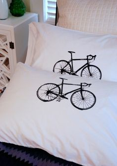 10 Speed Bike Hand Screen Printed Pillow Case by branchhandmade, $18.00