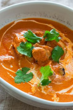 Tender yogurt marinated chicken in a sweet creamy tomato cream sauce.