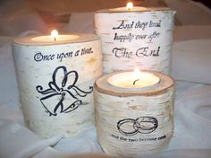 Rustic Wedding Birch Candle Holders Once Upon A by Northwoodswood, $20.00
