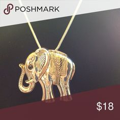 """Beautiful elephant pendant🐘🐘❤️ Silver with golden accents, 2.5""""X2.5"""". Can also be worn as a pin. 17"""" chain. Just beautiful 💖💖💖💖 Jewelry Necklaces"""