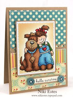 hello sunshine by NikiE - Cards and Paper Crafts at Splitcoaststampers Happy Crafters, Old Cards, Kids Birthday Cards, Color Crafts, Friendship Cards, Animal Cards, Tampons, Copics, Card Tags