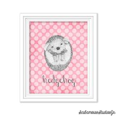 Hedgehog Nursery Art Printable Nursery 8x10 by ScubamouseStudiosJr, $3.00