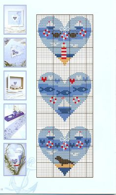 Nautical hearts. (9 total) cross stitch - free chart - free pattern