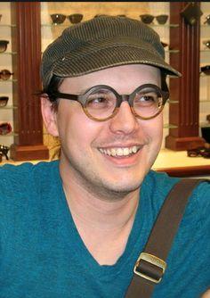 Custom designed Feb31st wood eyewear in layers of natural colors now worn by NYC lithographer Thomas Whaples fennectfoxen.org  #feb31st #1010optics #custommadeeyeglasses #woodeyeglasses