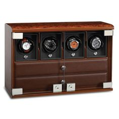 4-Module Briarwood Watch Winder with Watch Storage Trays - Rotobox by Underwood