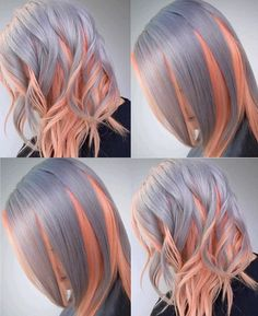Best Ombre Hair Color Ideas For Stylish Girls - Couleur Cheveux 02 Hair Color Pink, Cool Hair Color, Hair Colors, Pink Purple, Blonde Pink, Platinum Blonde, Purple Hair, Pink Grey, Ash Blonde