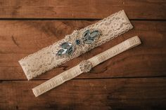 Wedding Garter Set / Something Blue Garter, Bridal Garter Set / Lace Garter / Vintage-inspired Garter 335 by VeilsAndHeadpieces on Etsy
