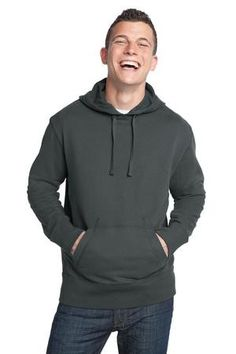 dd1d679207f1 District - Young Mens Vintage French Terry Pullover Hoodie. DT132 Charcoal  Men Closet