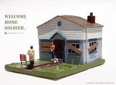 """""""Welcome Home Soldier"""" new limited edition sculpture by Leon Reid IV adresess the return of U.S. troops to the land of foreclosure. Sales info: lenora@leonthe4th.com"""