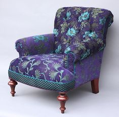 Love the colors and patterns of this chair. Purple & teal Middlebury Chair in Plum: Mary Lynn O'Shea: Upholstered Chair Table Design, Decoration Design, Retro Home Decor, Funky Furniture, Take A Seat, Upholstered Furniture, Chair Upholstery, Chair Cushions, Cool Chairs