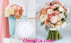 Hoa trang trí bàn tiệc cưới màu hồng đào cao cấp
