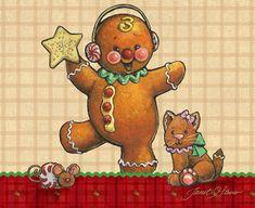 Gingerbread art, Gingerbread boys, Christmas art by renowned painter Janet Stever.