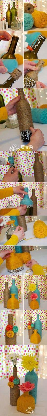 Beautiful Wrapped Bottles DIY