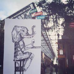 En compagnie de l'éléphant Nantais  #Nantes #Machinedelile #dessin #illustration #weekend #drawing