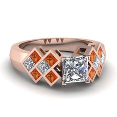 1.5 Carat Princess Cut Diamond Channel Set Wide Band Engagement Ring with Orange Sapphire in 14K Rose Gold exclusively styled by Fascinating Diamonds