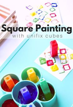 Learning about shapes? Just want a fun painting activity your students can do without you hovering nearby? This square painting activity for preschool is perfect! Preschool Painting, Preschool Art Projects, Preschool Art Activities, Preschool Colors, Painting Activities, Preschool Lessons, Craft Projects For Kids, Preschool Shapes, Process Art Preschool