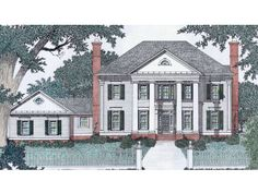 Colonial style home plans are generally two to two and one half story homes with a very simple and efficient design.This architectural style is very identifiable with its very simplistic rectangular shape and the large columns. Coastal House Plans, Southern House Plans, Luxury House Plans, Small House Plans, Colonial House Plans, Colonial Style Homes, Traditional House Plans, Traditional Design, Two Story House Design