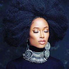 African American Woman Wearing Natural Hair Fro.
