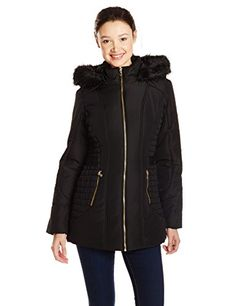 Celebrity Pink Juniors Puffer Jacket with Faux Fur Hood  Black Large *** You can find more details by visiting the image link.