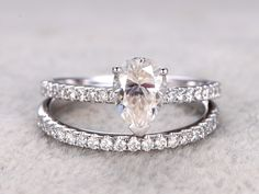 6x8mm Pear Moissanite Wedding Set Diamond Bridal Ring 14k Rose Gold Pave Thin Matching Band - BBBGEM