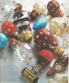 Painted old lights bulbs