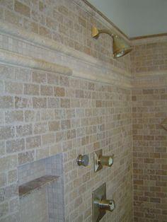 Travertine Shower W Large Subways In Oversized