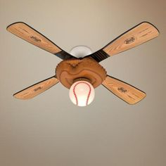 Baseball Ceiling Fan With Light Awesome For My Lil Dude