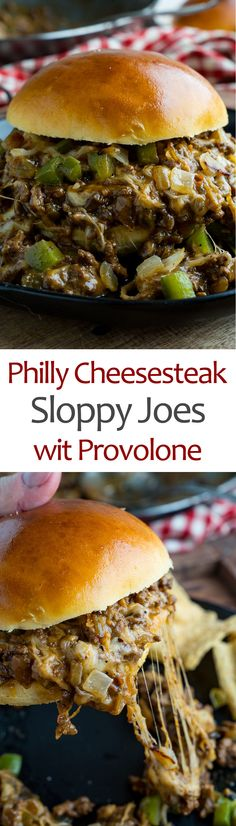 Philly Cheesesteak Sloppy Joes Recipe : All of the flavours of Philly cheesesteaks in a quick and easy sloppy joe form! Beef Recipes For Dinner, Ground Beef Recipes, Cooking Recipes, Healthy Recipes, Joe Recipe, Sloppy Joes Recipe, Soup And Sandwich, Wrap Sandwiches, Beef Dishes