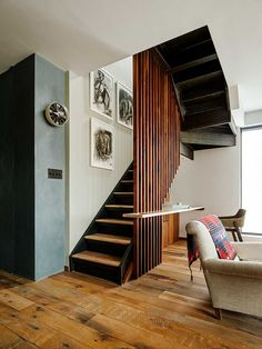 General Assembly studio joined two apartments into one - Attitude Interior Design Magazine Interior Design Magazine, Architectural Digest, Interior Stairs, Room Interior, Interior Architecture, Modern Staircase, Staircase Design, Spiral Staircases, Wood Partition