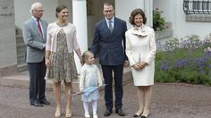Crown Princess Victoria, Prince Daniel and Princess Estelle in the company of King Carl Gustaf and Queen Silvia on Victoria Day 2015.