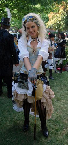 Steampunk costume that i designed. some of the accessories i made, others i collected from thrift stores and decorated.