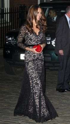 Duchess Kate recycles floor-length lace dress for date night - The Look