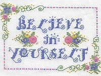 Believe in Yourself, a free downloadable pattern from Kreinik featuring silk and metallic threads.