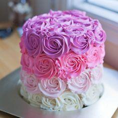 Ombre buttercream cake by Golestan Bakery Pretty Cakes, Cute Cakes, Beautiful Cakes, Yummy Cakes, Birthday Cake Roses, Pastel Cakes, Rosette Cake, Buttercream Cake, Sweet Cakes