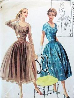 1950s McCalls Pattern 3493 Beautiful Evening Cocktail Dress Dreamy Midriff Style Perfect For Sheer Fabrics