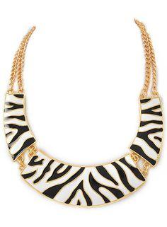 Beautiful  Zebra Chic Necklace