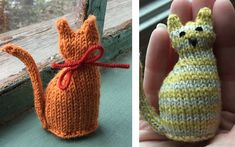 Super Cute Tiny Knitted Window Cat [FREE Knitting Pattern]