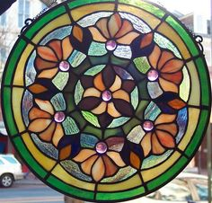 Tiffany Styled Stained Glass Window Panel 12'' Round 9038-14